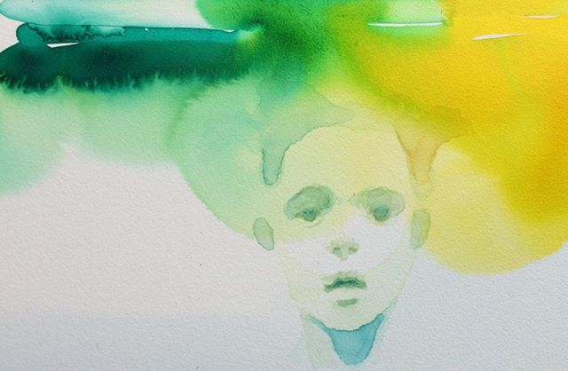 tiny little painting  #watercolor #painting #green #yellow #boy #face #artsy #drips #alicavanaugh