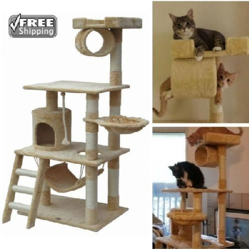 Cat Tree For Large Cats 62 Scratching Post Furniture Climbing Tower Condo House Wooden Cat House Club Furniture Large Cats