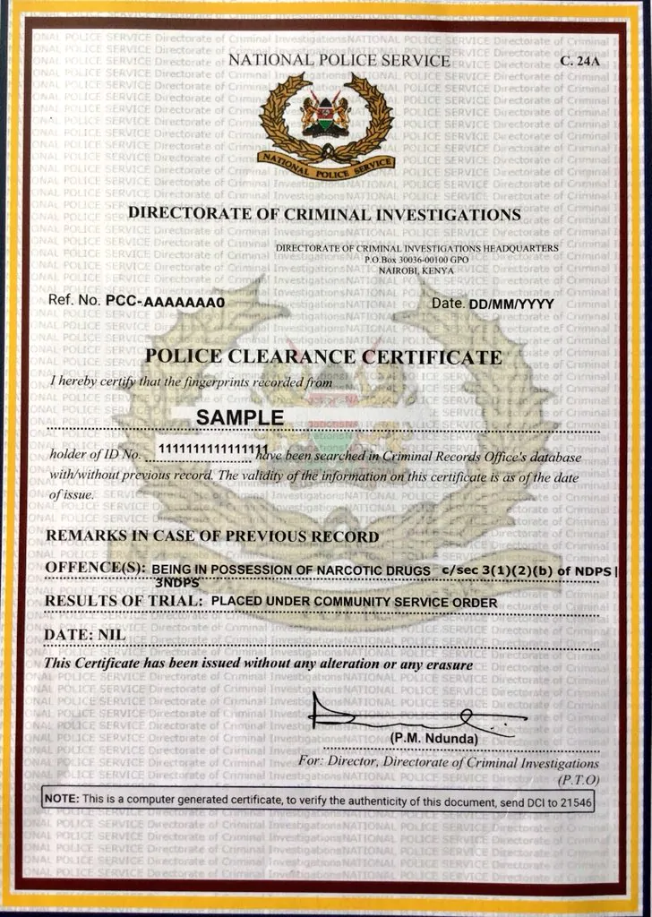Application For The Digital Criminal Records Certificate