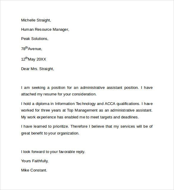 Sample Administrative Assistant Cover Letter Template  Free  Jorb
