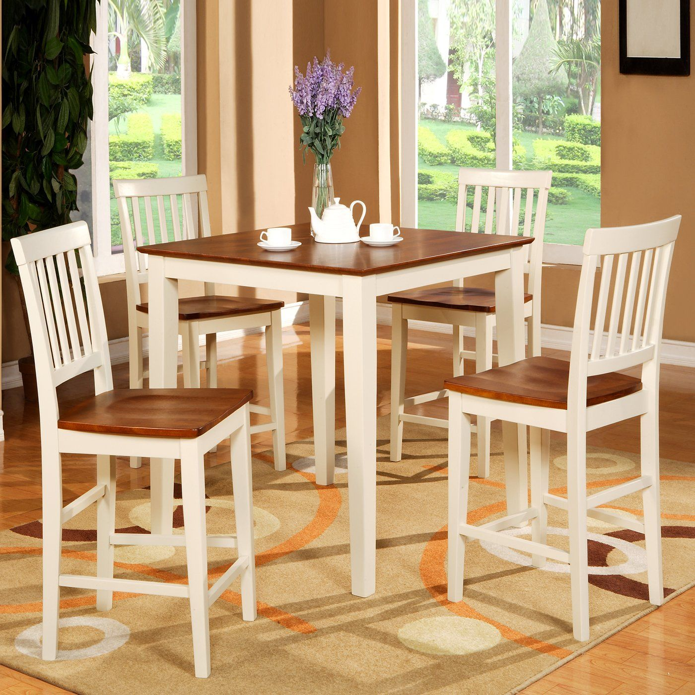 Wooden Imports VN10 Vernon Five Piece Counter Height Wood Seat ...