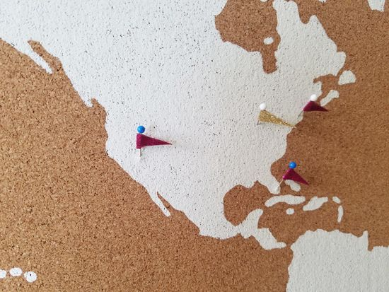 How to stencil a cork board using the world map pattern pinterest make custom push pins for diy stenciled cork board using the world map wall art stencil from cutting edge stencils gumiabroncs Gallery