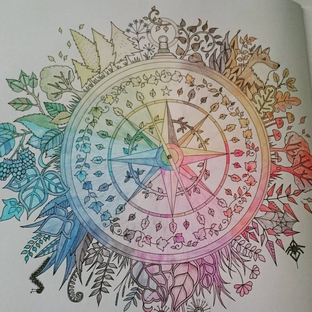 Enchantedforest Johanabasford Compass Finishedwork Coloring BooksColouringCompassClever