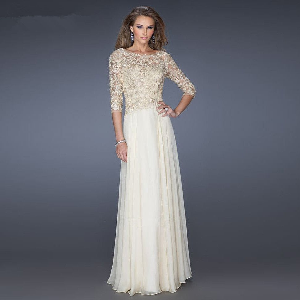 Scoop Neck Long Chiffon 3/4 Sleeves Mother Of Bride Dress