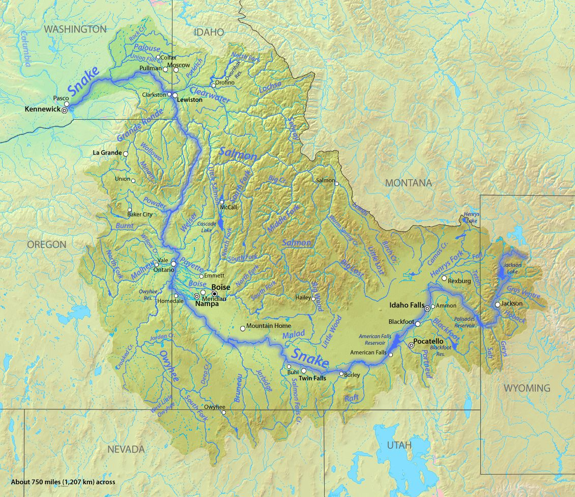 Map Of The Snake River In The Pacific Northwest USA World - Map of northwest us rivers