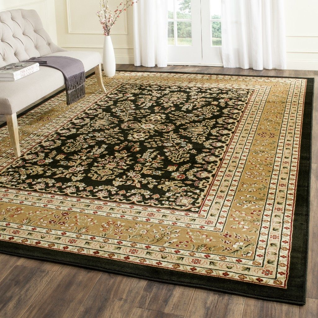 Lyndhurst Collection 8 X 11 Rug In Black And Tan Safavieh