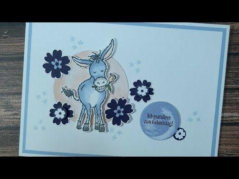 donkey birthday card/ Eselchen Geburtstagsgrüsse S
