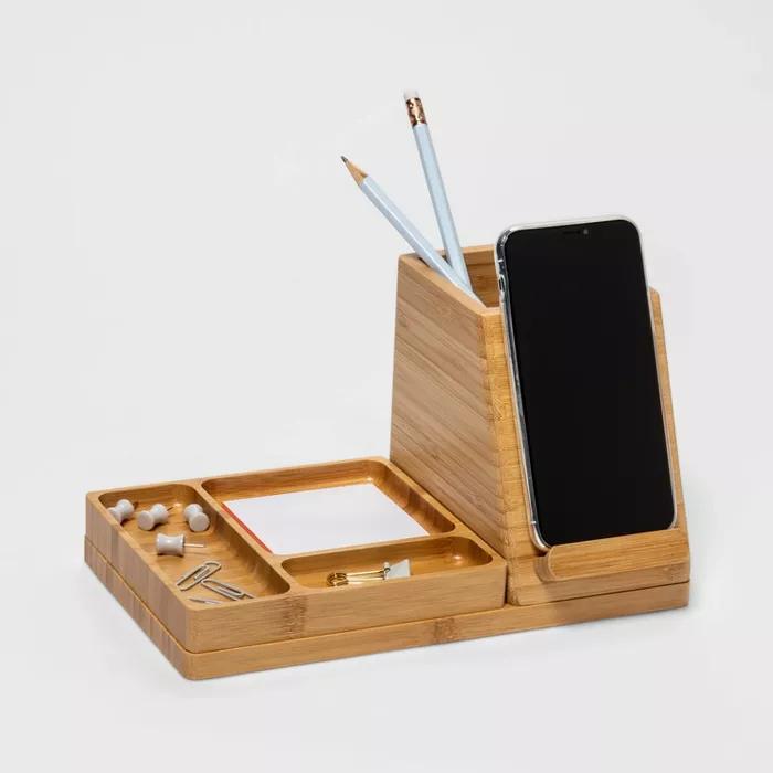 Medium Bamboo Desk Storage 5v 2 4a 2 Port Usb A Qi Wireless Charger Project 62 In 2021 Desk Storage Wooden Desk Organizer Desk Organization