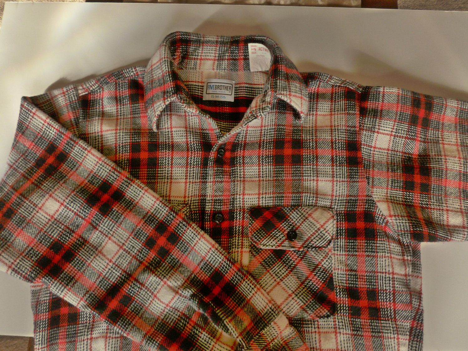 Flannel shirt vintage  vintage Fivebrothers heavyweight cotton flannel shirt Mens winter