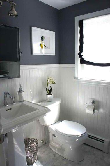 Salle de bain grise soubassement lambris peinture blanche