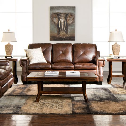 Newbury Leather Living Room Collection Jerome 39 S Furniture Home Decor Rustic Dining Traditional