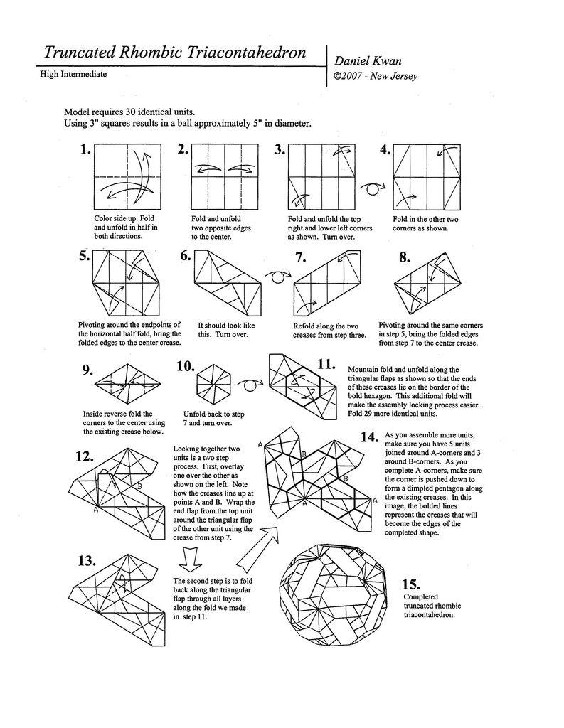 Diagrams Truncated Rhombic Triacontahedron Kusudama Pinterest Origami Cubos Arte De Papel Lugares Proyectos Dibujos