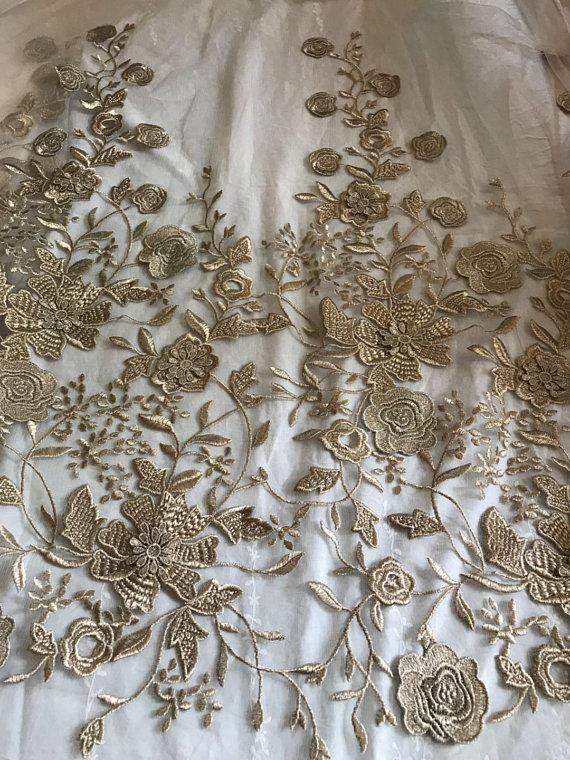 Apricot Tulle Lace Fabric With Gold Embroidery Gold Embroidered