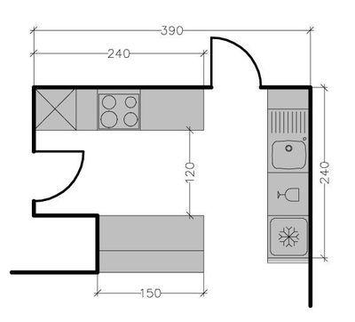 Plans De Cuisine Américaine Avec Un Bar Architecture - Plan de cuisine en u
