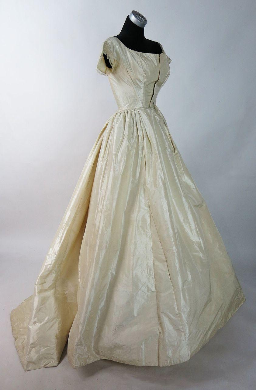 Antique cream wedding dress  Antique Circa  Victorian Cream Silk Ball Gown With Train