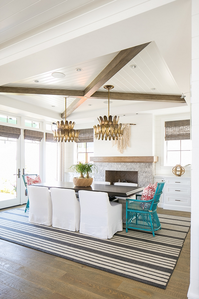 The Tray Ceiling Combines Crossed X Beams With Tongue And Groove Beadboard Dining Room Ceiling Tray Ceiling House Design