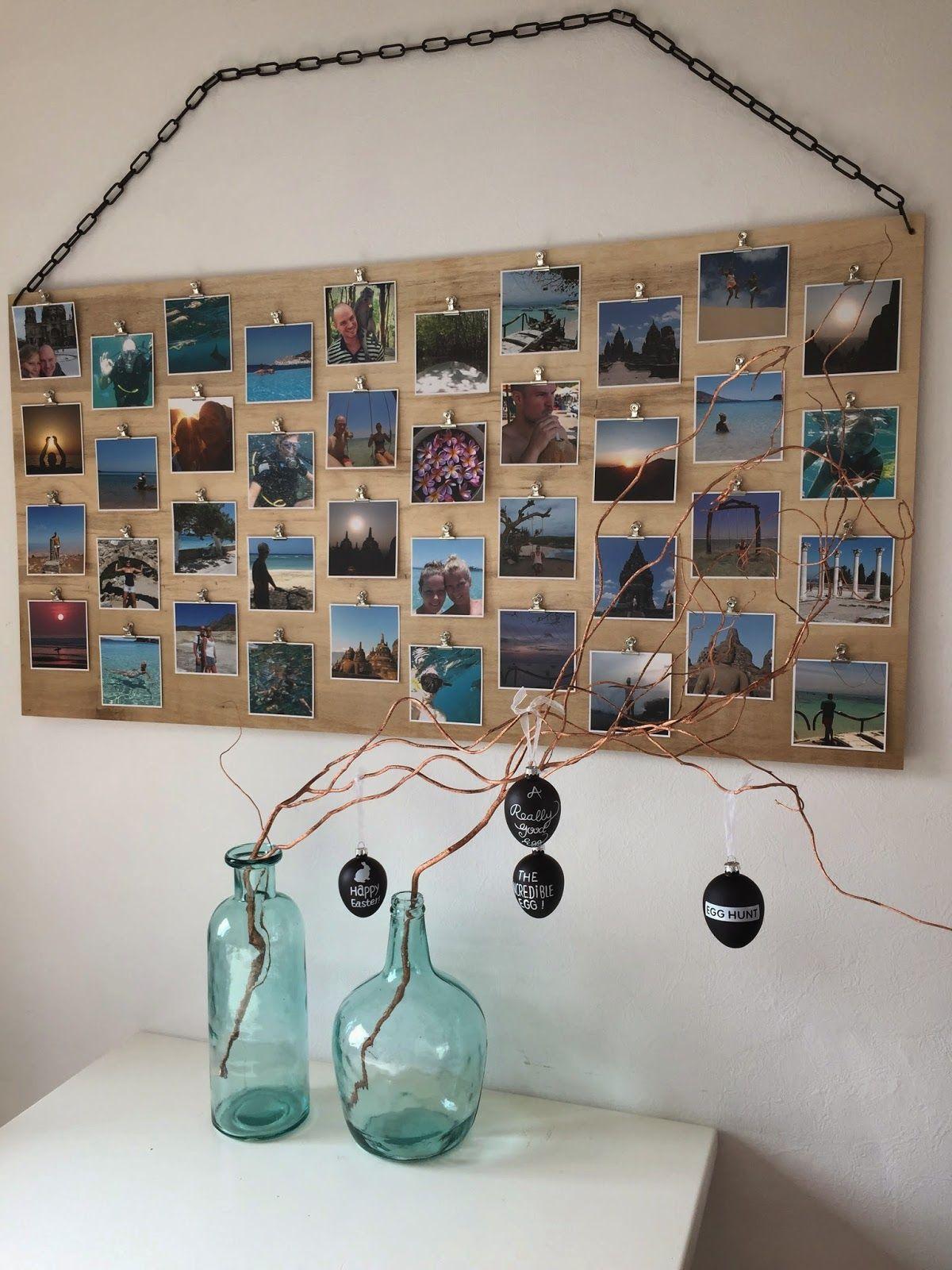 diy fotobord met clips woonideeen pinterest huiskamer muur en slaapkamer. Black Bedroom Furniture Sets. Home Design Ideas