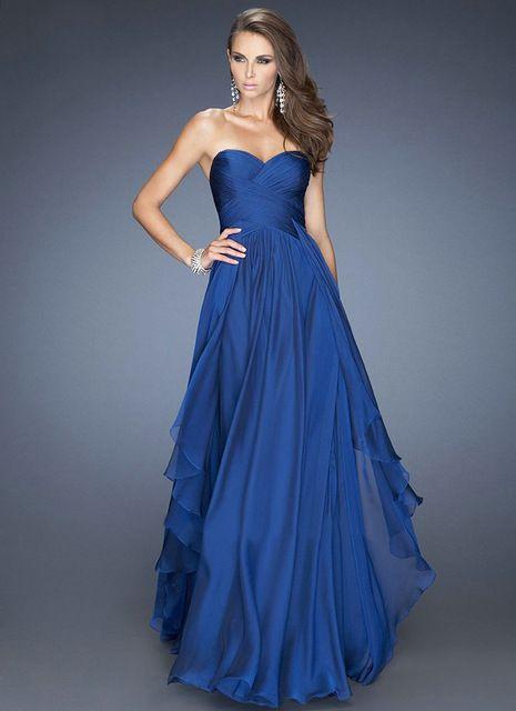 Vestido longo Gasa del Azul Real de Una Línea de Novia Vestidos de