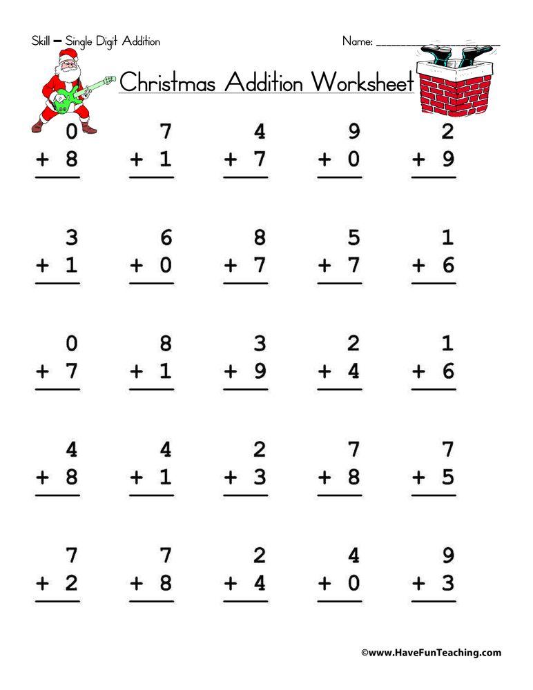Christmas Single Digit Addition Worksheet Addition Worksheets Christmas Math Worksheets Christmas Addition Single digit addition worksheets with
