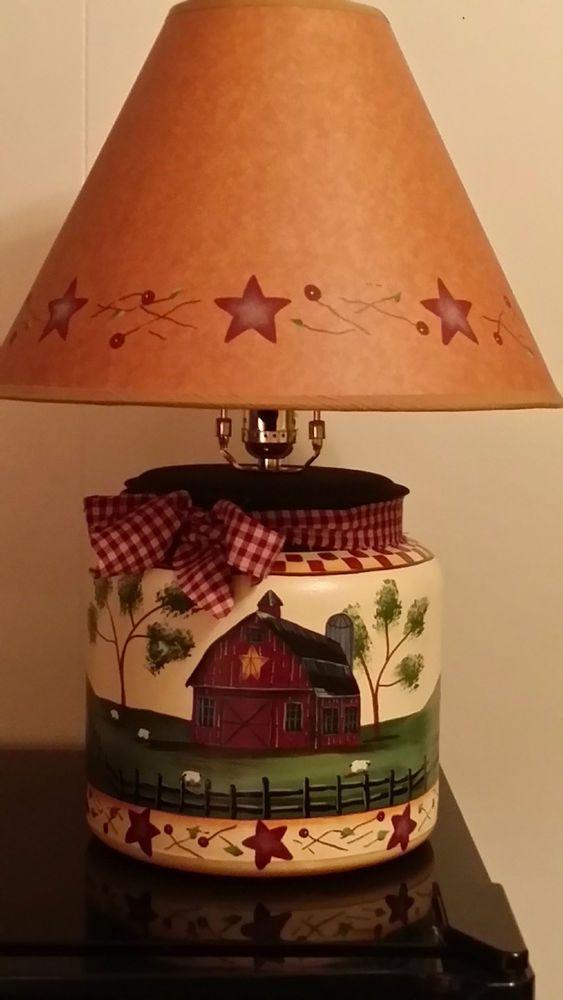 Primitive Country Barn Sheep Hillside Table Lamp #PrimitiveCountryDecor #Country Primitive ...
