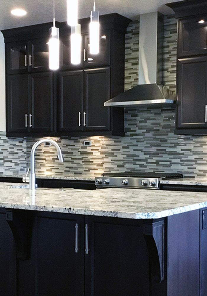 Gorgeous Customer Kitchen Featuring Dark Cabinets, A Clean Modern Tile  Backsplash, And A Beautiful