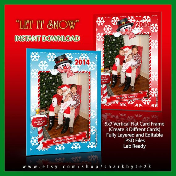 2017 5x7 Photoshop Christmas Frame Template with Snowman and Snow