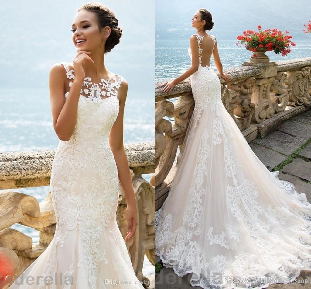 d852cdde489c Illusion Neck Back Mermaid Lace Wedding Dresses 2018 Jewel Sweep Train  Appliques Millanova White Sleeveless Bridal Gowns Vestidos De Noiva  Sweetheart ...