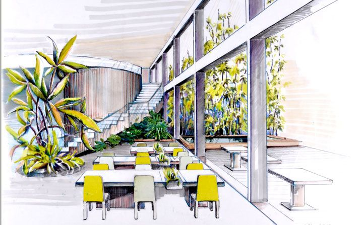 Interior Design Marker Sketch With Yellows Greens And Light Shades To Give Aesthetic Feel