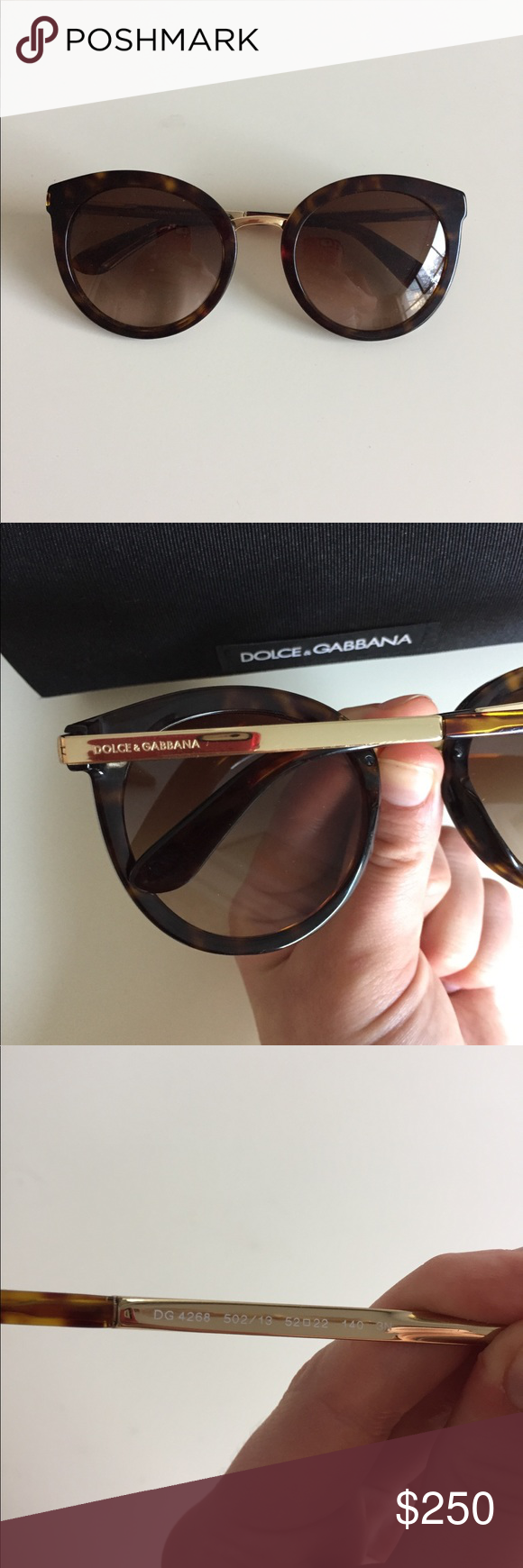 5646fe941ac2 Dolce   Gabbana Sunglasses DG 4268 NEW WITH CASE! Color 502 13 - Elegant  rounded sunglasses with Havana acetate frontal and gold metal temples with  D G ...