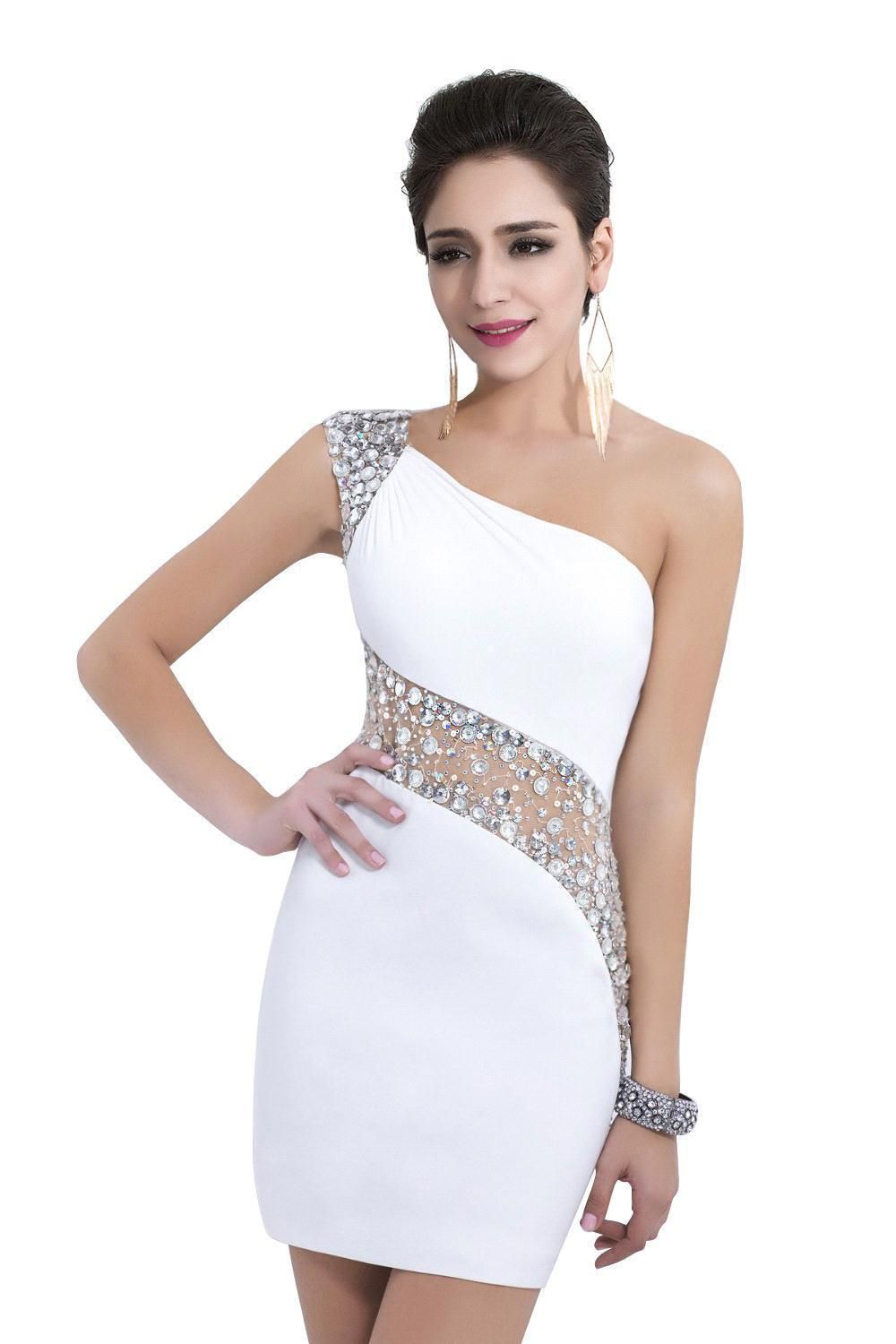 White Sexy Sequins Beading Cocktail Dresses One Shoulder Crystal ...
