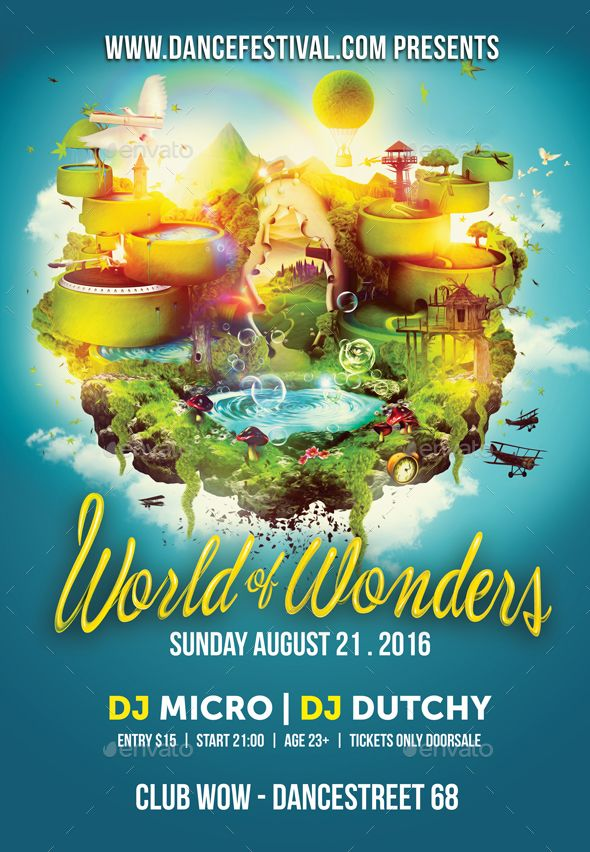 World Of Wonders Flyer  Diseo    Psd Templates Flyer