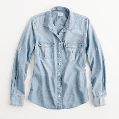 4438f2d6a7 J.Crew Factory - Factory classic chambray shirt  chambray  denim  spring   spring2014  fashion  style  mystyle  clothingfetish  jcrew