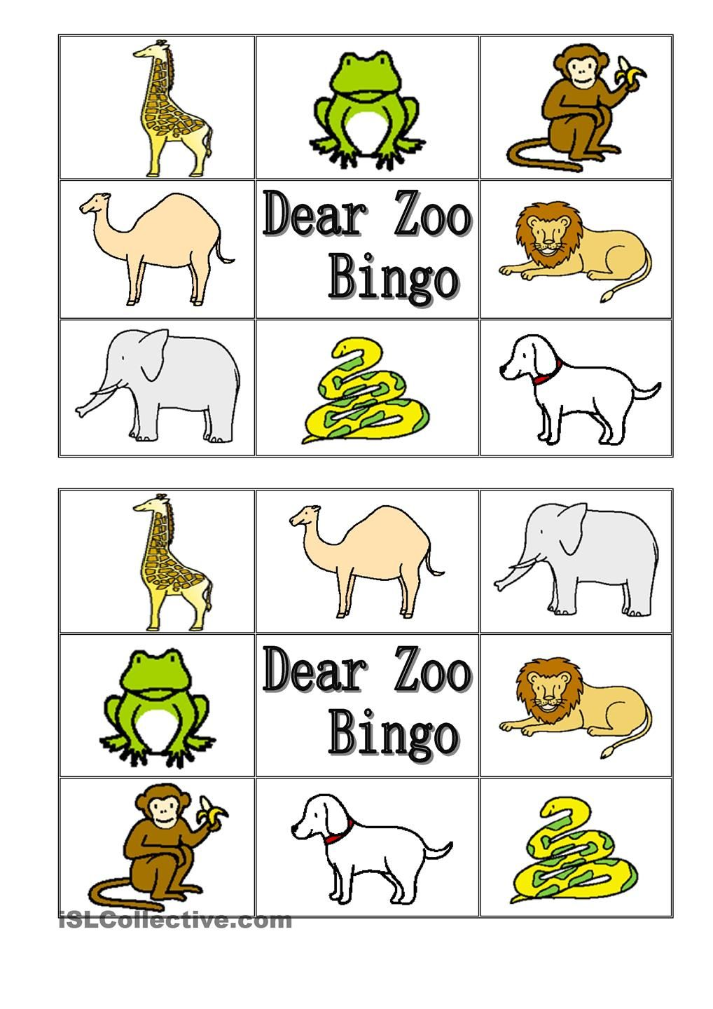 worksheet Dear Zoo Worksheet dear zoo animal bingo 123abc pinterest book bingo