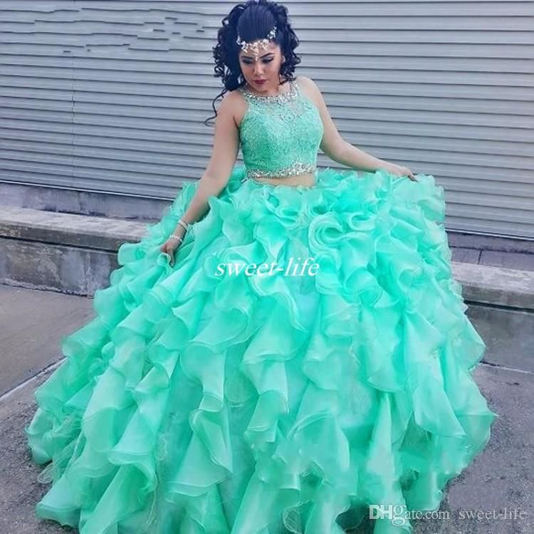 Two Piece Lace Turquoise Quinceanera Dresses With Beaded Crystal Organza Ball Gowns Sweet 16 Gowns Corset Formal Dress for 15 Year Prom 2016 | Pinterest | Prom…