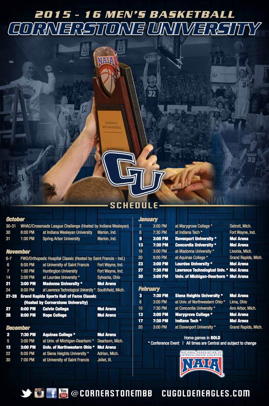 Cornerstone Men S Basketball Schedule Poster Printing