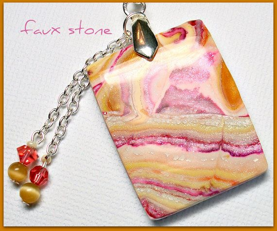Faux Stone in shades of Cranberry, Gold, & Cream