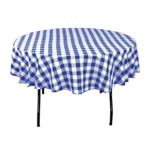 90 Round Blue Checkered Tablecloth Oktoberfest Bavarian Wizard