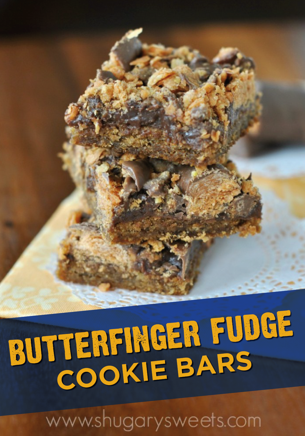 Butterfinger Fudge Cookie Bars are chewy and delicious with a crispety, crunchety, peanut-buttery taste. The peanut butter cookie crust is topped with a layer of fudge and crushed up pieces of BUTTERFINGER® Bites. This dessert is the perfect sweet treat to share with your coworkers at the office.