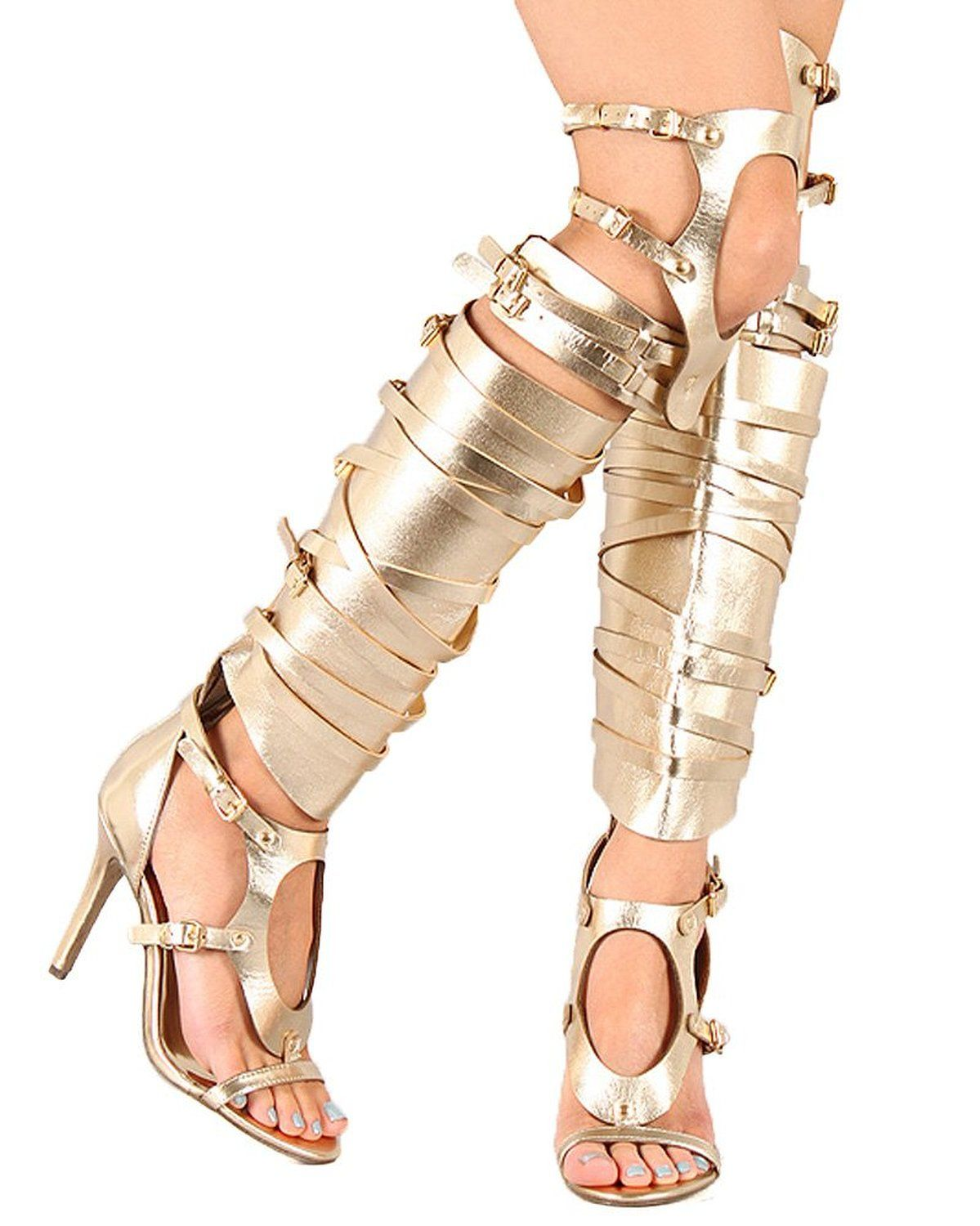 Strappy Lace Up Knee High Gladiator Heel   Knee high