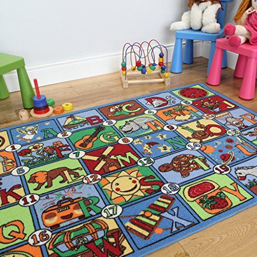 Colourful Letter Picture Alphabet Fun Educational Kids Rug 133x200cm The House Http