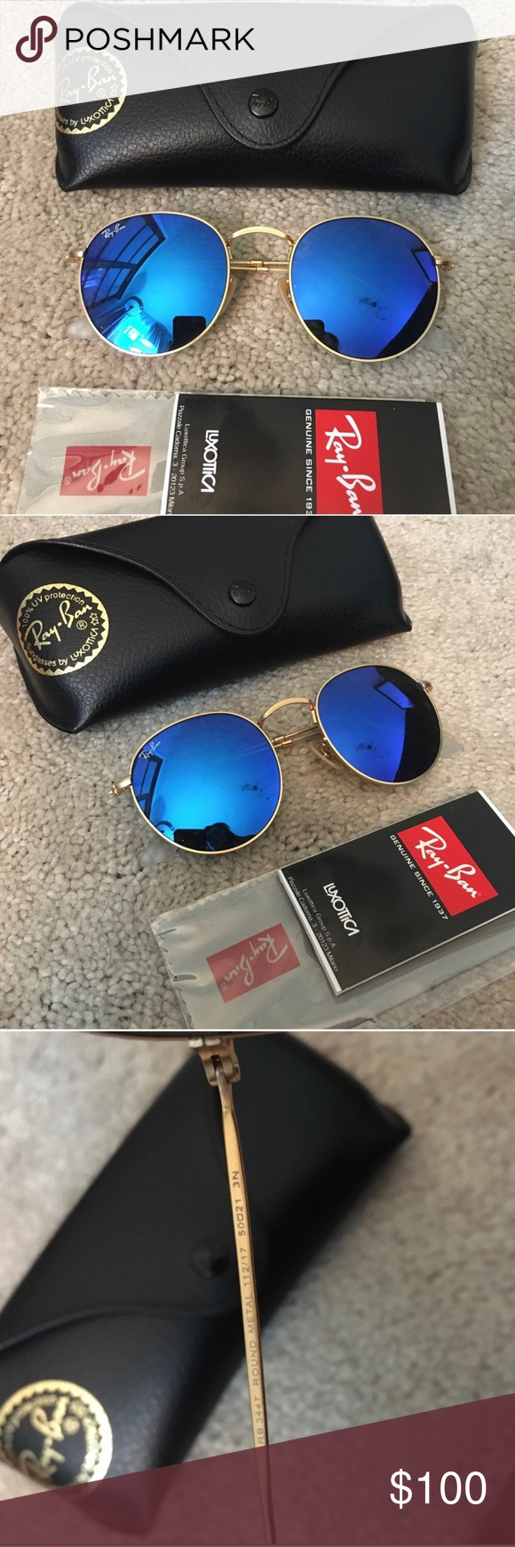 9fadbd68b 🧡NEW Ray-Ban Round Metal Blue Icons Sunglasses Brand new authentic 50-21mm