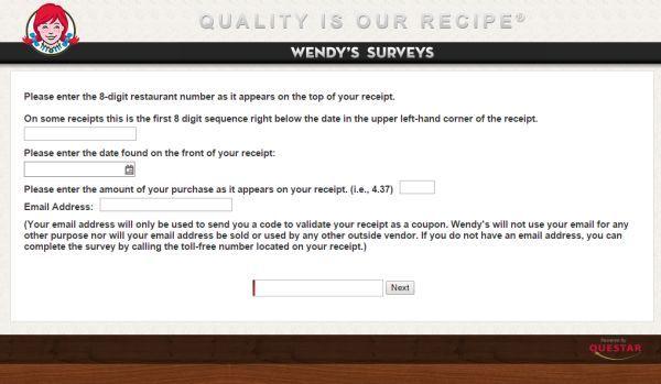 talktowendys american fast food restaurant wendy s survey to get