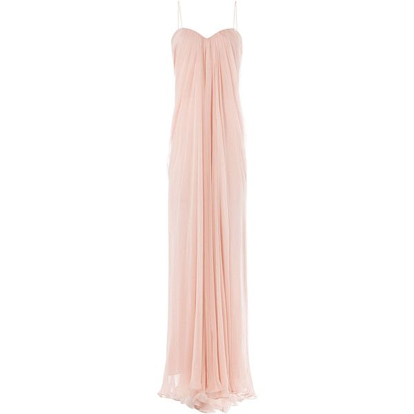 Alexander McQueen Draped Floor Length Silk Dress (23 055 SEK) ❤ liked on Polyvore featuring dresses, gowns, rose, pink silk dress, floor length evening gown, pink ball gown, pink gown and silk dress