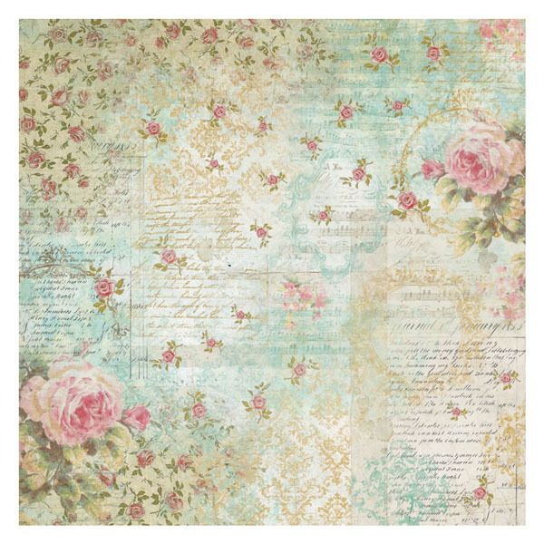 Stamperia - Rice Paper Napkin - Roses and Writings