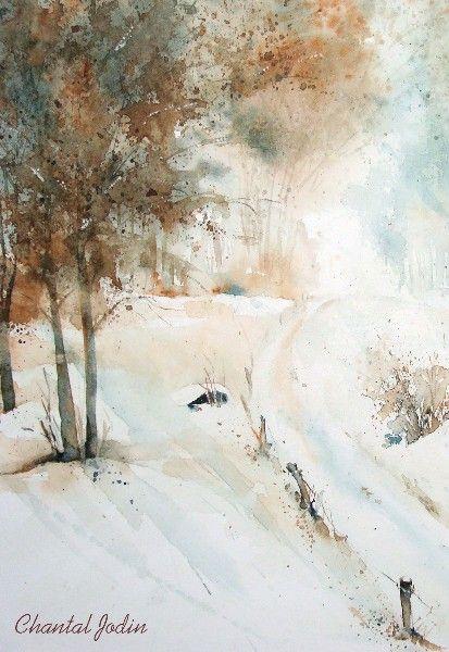 Chantal jodin watercolor pinterest paysage peinture paysage et peinture aquarelle - Paysage enneige dessin ...