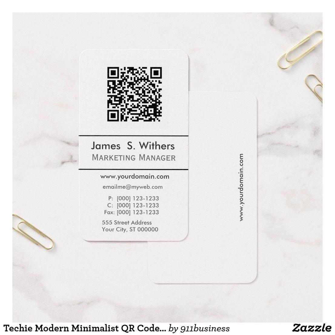 Techie Modern Minimalist Qr Code Photo Logo Business Card Zazzle Com Qr Code Business Card Business Card Logo Photo Logo