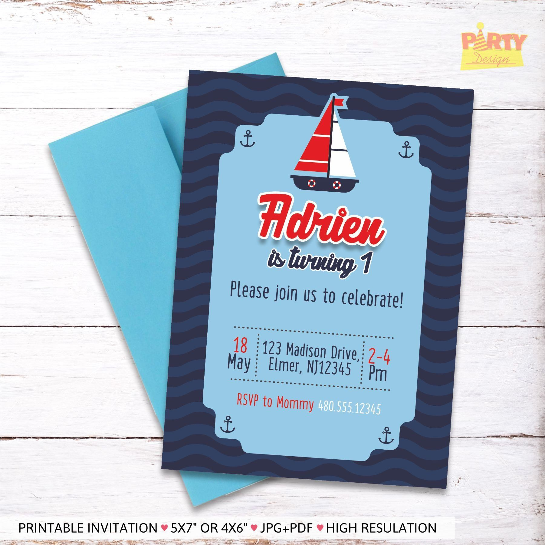 Nautical Party Invitation DIGITAL FILE Birthday First By PartyyDesign On