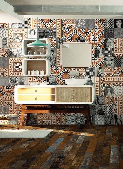 patchwork de carreaux en fa ence des collections moving black vanguard et glam decor 20 x 20. Black Bedroom Furniture Sets. Home Design Ideas