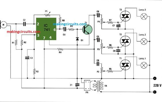 Music Operated Dancing Light Circuit Contact Less