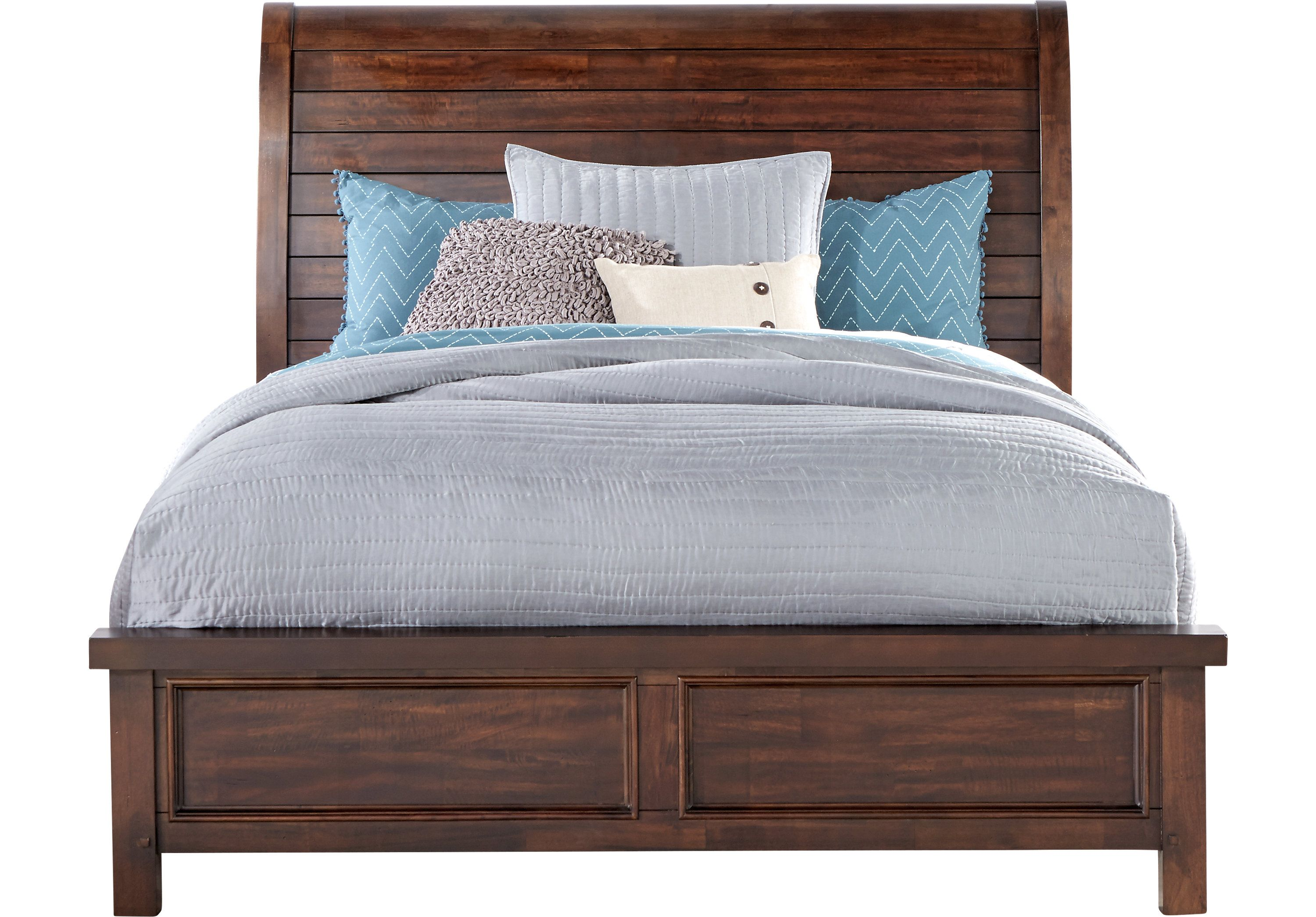 Mango Burnished Walnut 3 Pc Queen Sleigh Bed  Beds